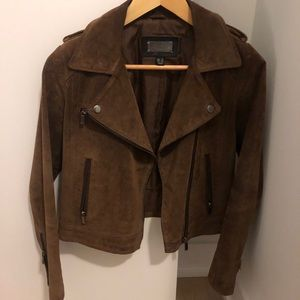 Leather suede brown jacket